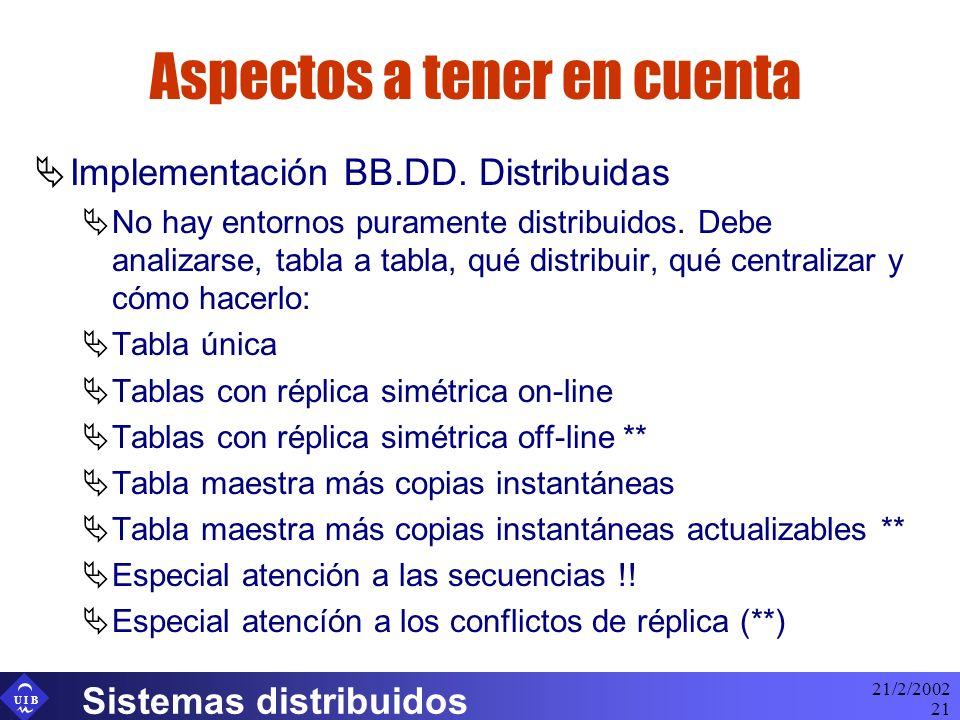 U I B 21/2/2002 Sistemas distribuidos 21 Aspectos a tener en cuenta Implementación BB.DD. Distribuidas No hay entornos puramente distribuidos. Debe an
