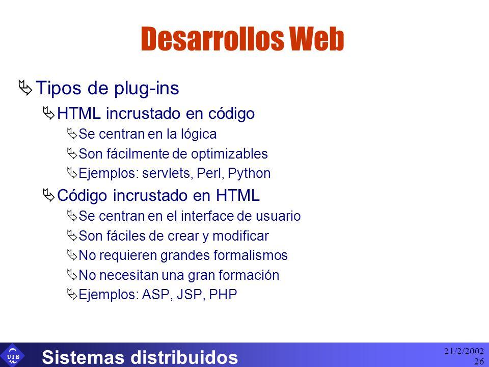 U I B 21/2/2002 Sistemas distribuidos 26 Desarrollos Web Tipos de plug-ins HTML incrustado en código Se centran en la lógica Son fácilmente de optimiz