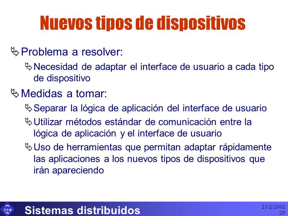U I B 21/2/2002 Sistemas distribuidos 29 Nuevos tipos de dispositivos Problema a resolver: Necesidad de adaptar el interface de usuario a cada tipo de