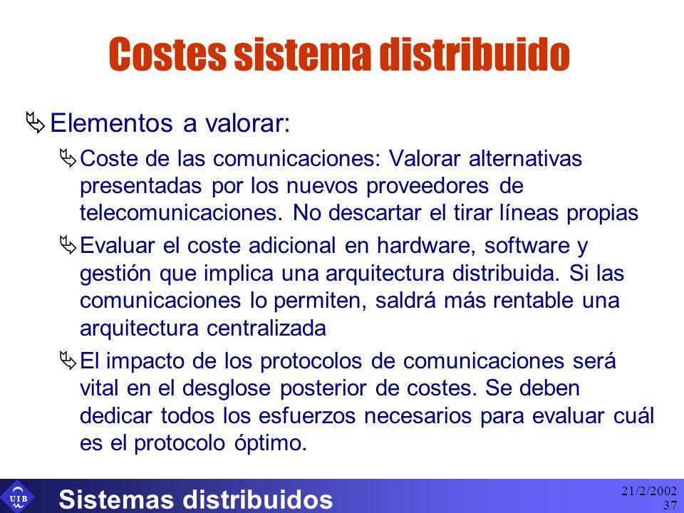 U I B 21/2/2002 Sistemas distribuidos 37 Costes sistema distribuido Elementos a valorar: Coste de las comunicaciones: Valorar alternativas presentadas