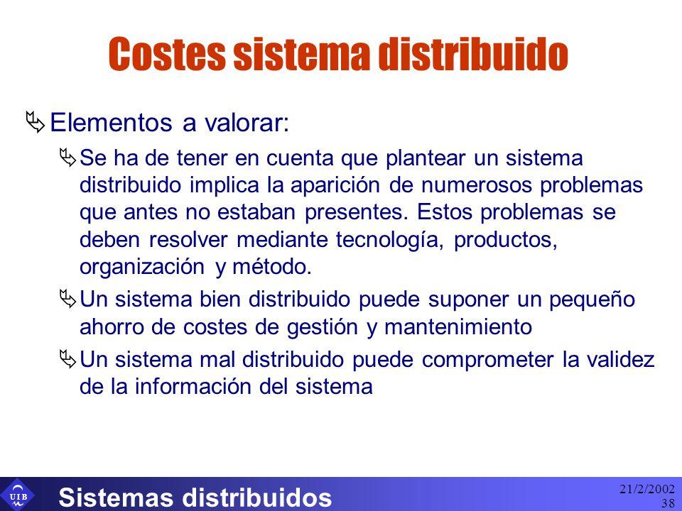 U I B 21/2/2002 Sistemas distribuidos 38 Costes sistema distribuido Elementos a valorar: Se ha de tener en cuenta que plantear un sistema distribuido