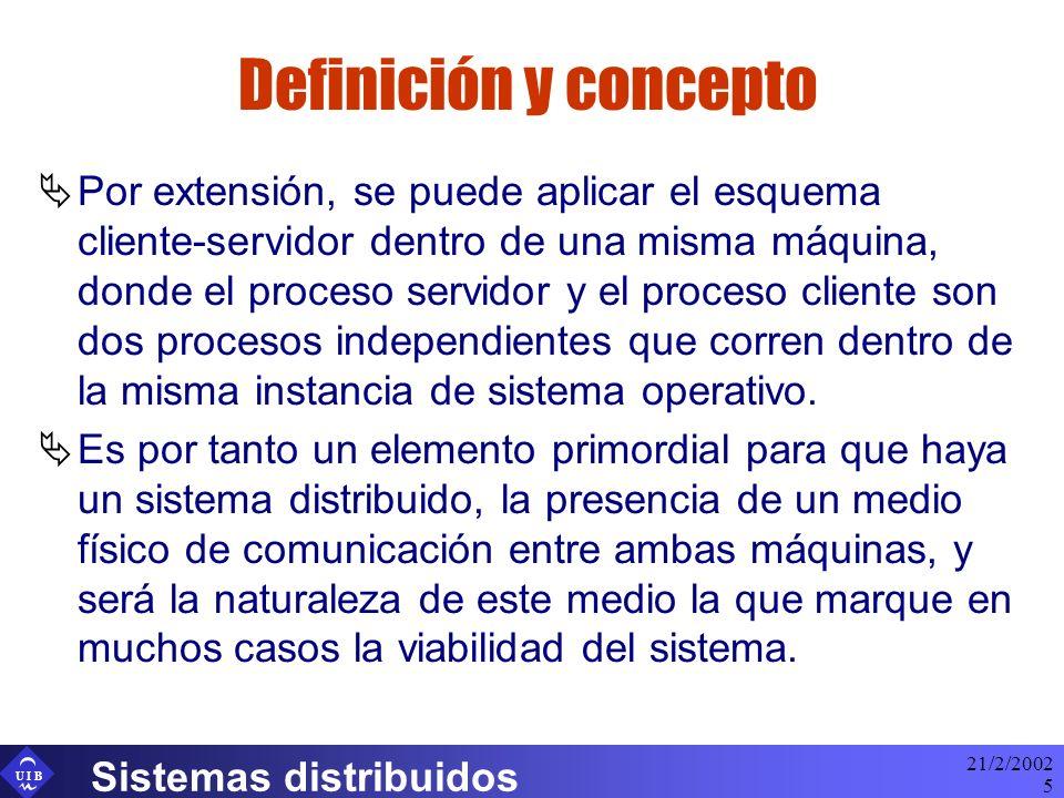 U I B 21/2/2002 Sistemas distribuidos 5 Definición y concepto Por extensión, se puede aplicar el esquema cliente-servidor dentro de una misma máquina,