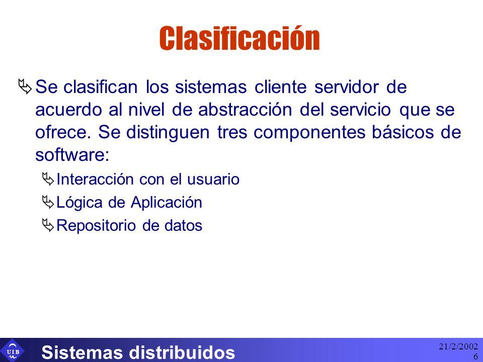 U I B 21/2/2002 Sistemas distribuidos 6 Clasificación Se clasifican los sistemas cliente servidor de acuerdo al nivel de abstracción del servicio que