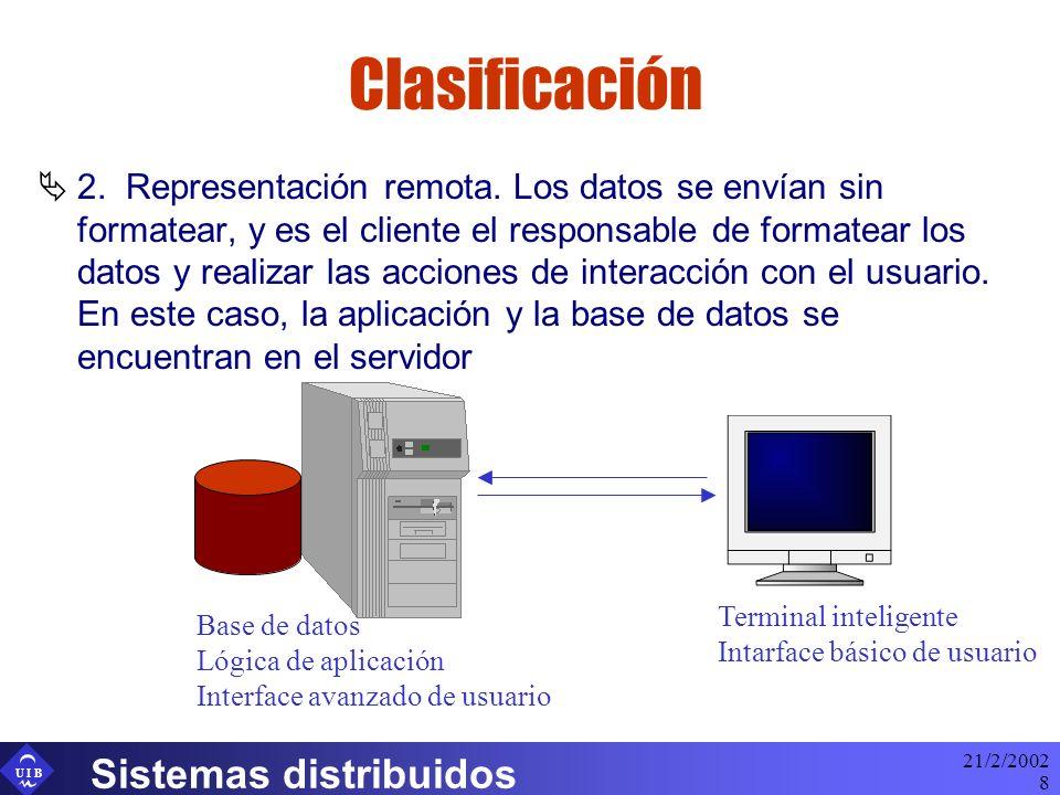 U I B 21/2/2002 Sistemas distribuidos 8 Clasificación 2. Representación remota. Los datos se envían sin formatear, y es el cliente el responsable de f