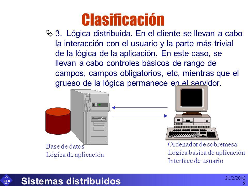 U I B 21/2/2002 Sistemas distribuidos 30 Nuevos tipos de dispositivos Tendencia actual Navegador Web Server Páginas HTML Servidor Aplicaciones Lógica de negocio Datos Base de datos Interface de usuario Gestor comunicaciones Usuario Móvil WAP Server Páginas WML SQL XML -- Wml binariohttp