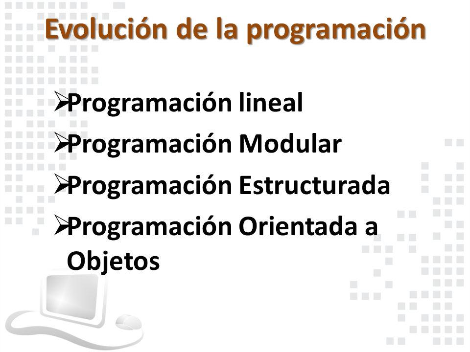 Programación lineal Programación Modular Programación Estructurada Programación Orientada a Objetos