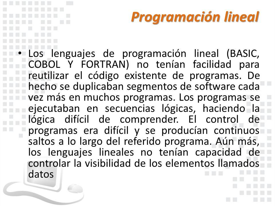 Programación lineal Los lenguajes de programación lineal (BASIC, COBOL Y FORTRAN) no tenían facilidad para reutilizar el código existente de programas