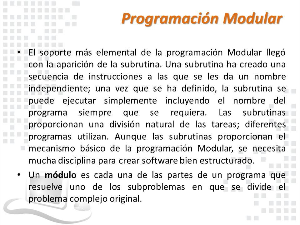 Programación Modular El soporte más elemental de la programación Modular llegó con la aparición de la subrutina. Una subrutina ha creado una secuencia