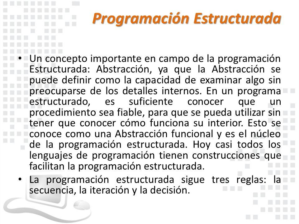 Programación Estructurada Un concepto importante en campo de la programación Estructurada: Abstracción, ya que la Abstracción se puede definir como la