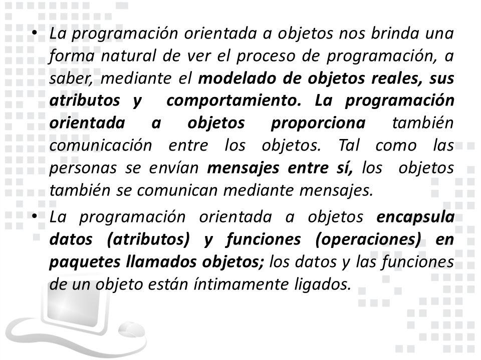 La programación orientada a objetos nos brinda una forma natural de ver el proceso de programación, a saber, mediante el modelado de objetos reales, s