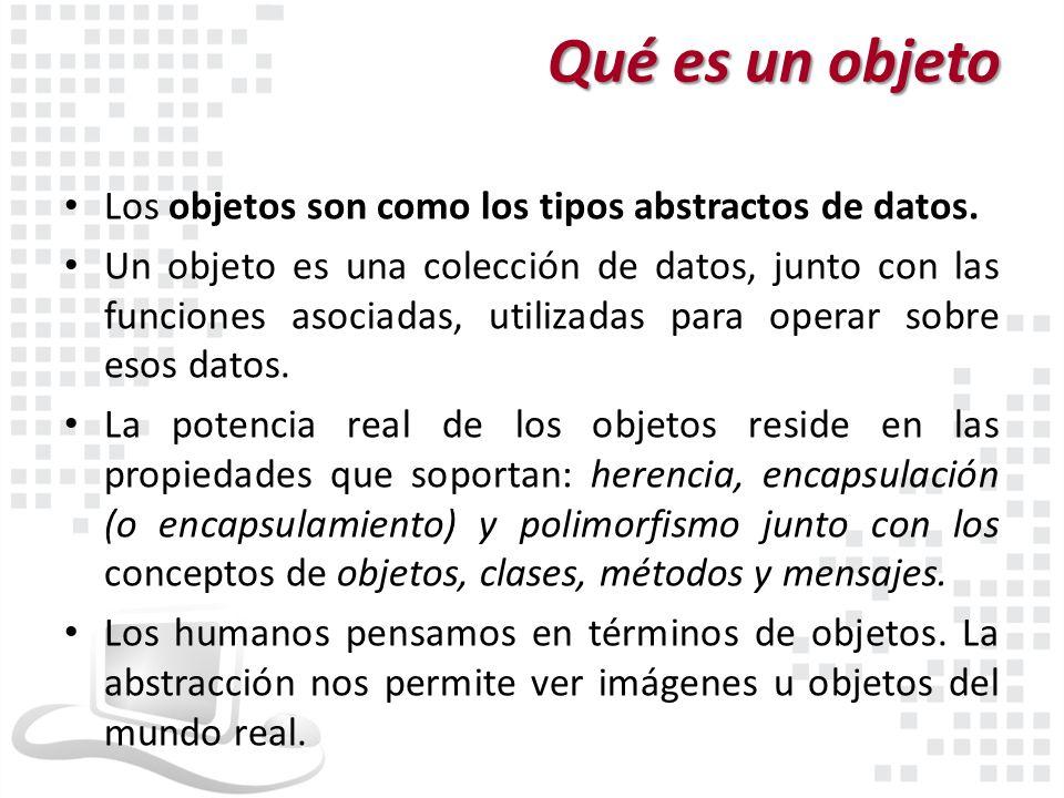 Qué es un objeto Los objetos son como los tipos abstractos de datos. Un objeto es una colección de datos, junto con las funciones asociadas, utilizada