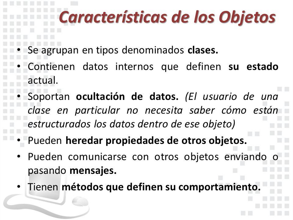 Características de los Objetos Se agrupan en tipos denominados clases. Contienen datos internos que definen su estado actual. Soportan ocultación de d