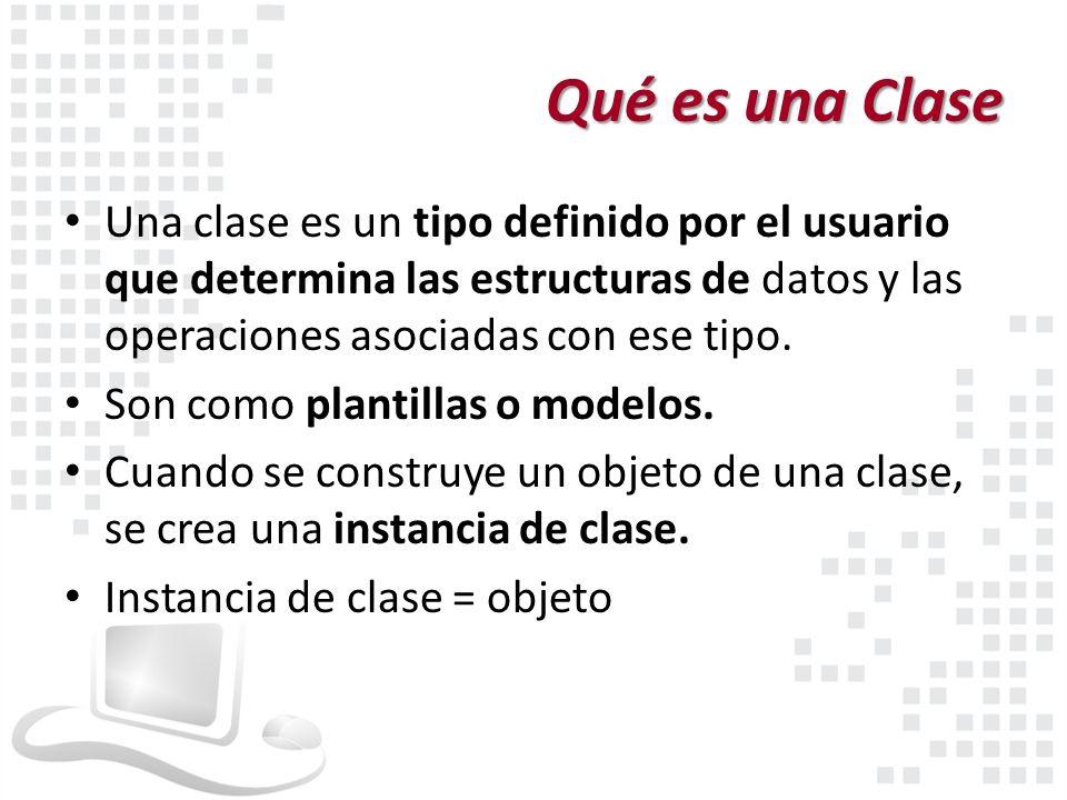 Qué es una Clase Una clase es un tipo definido por el usuario que determina las estructuras de datos y las operaciones asociadas con ese tipo. Son com