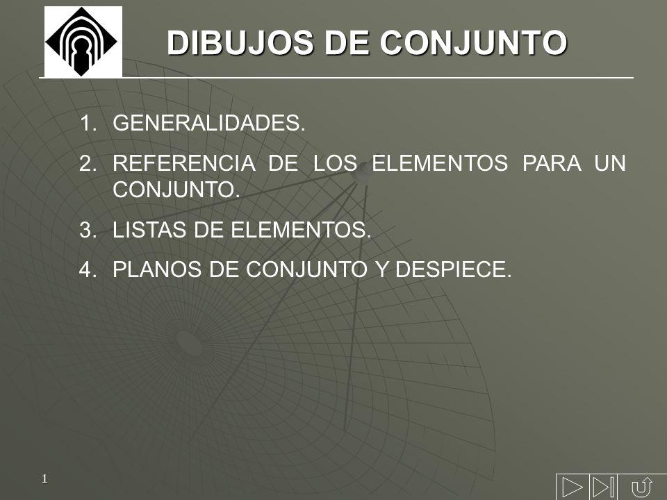 1 DIBUJOS DE CONJUNTO 1.GENERALIDADES. 2.REFERENCIA DE LOS ELEMENTOS PARA UN CONJUNTO. 3.LISTAS DE ELEMENTOS. 4.PLANOS DE CONJUNTO Y DESPIECE.