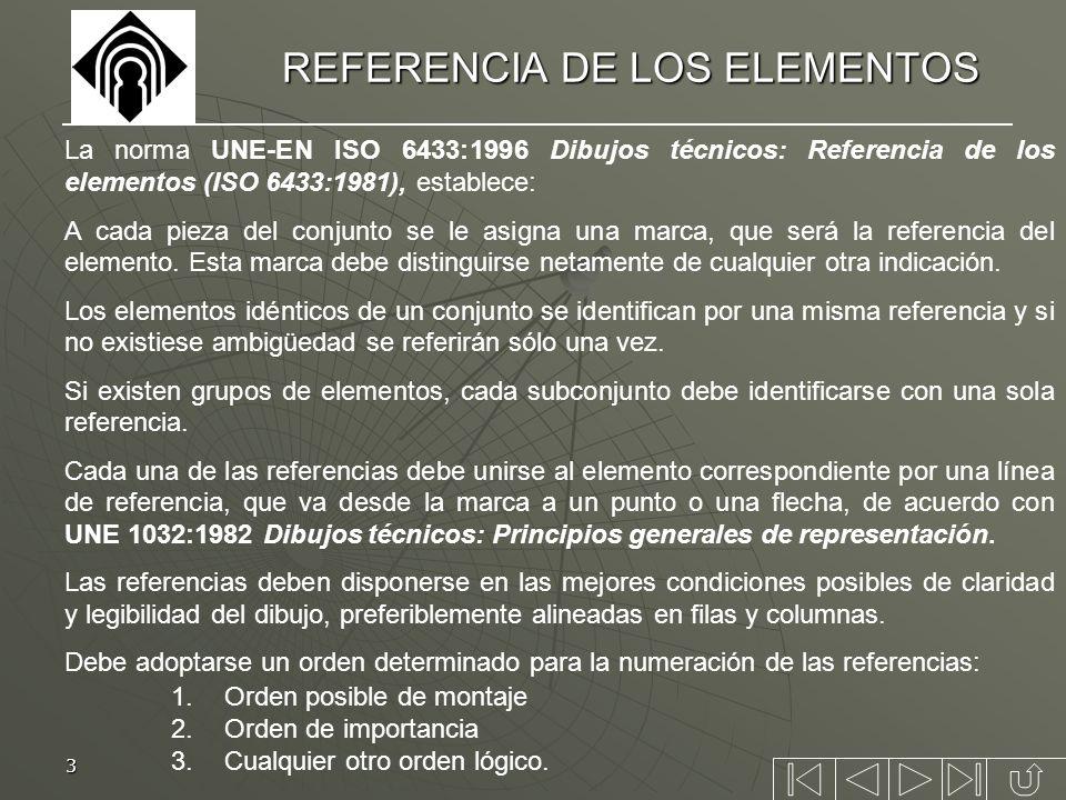 3 REFERENCIA DE LOS ELEMENTOS La norma UNE-EN ISO 6433:1996 Dibujos técnicos: Referencia de los elementos (ISO 6433:1981), establece: A cada pieza del