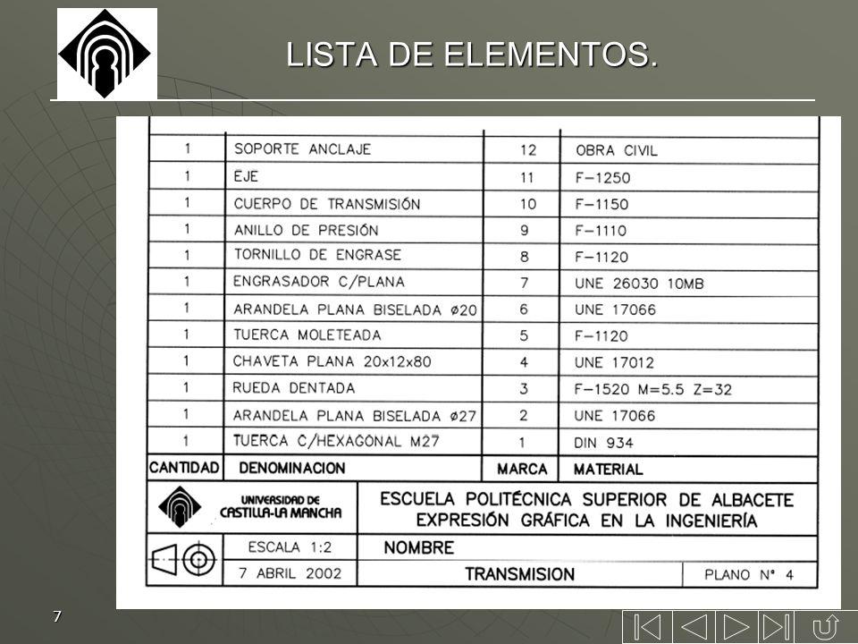 7 LISTA DE ELEMENTOS.