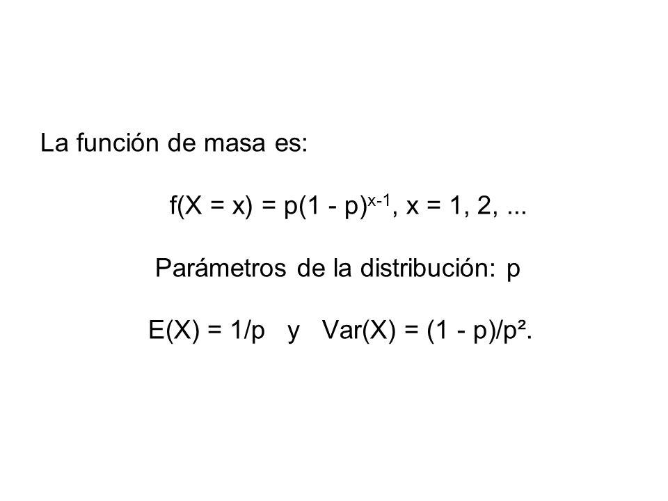La función de masa es: f(X = x) = p(1 - p) x-1, x = 1, 2,... Parámetros de la distribución: p E(X) = 1/p y Var(X) = (1 - p)/p².
