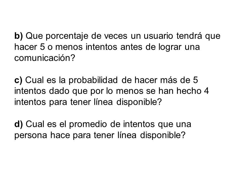 b) Que porcentaje de veces un usuario tendrá que hacer 5 o menos intentos antes de lograr una comunicación? c) Cual es la probabilidad de hacer más de