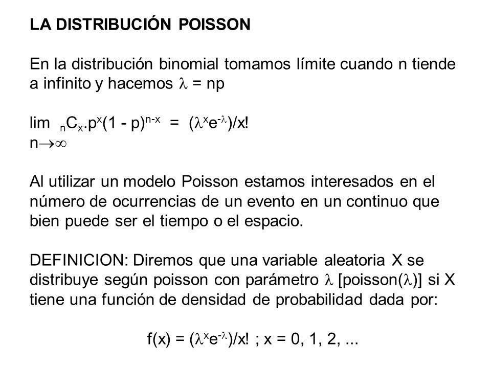 LA DISTRIBUCIÓN POISSON En la distribución binomial tomamos límite cuando n tiende a infinito y hacemos = np lim n C x.p x (1 - p) n-x = ( x e - )/x!
