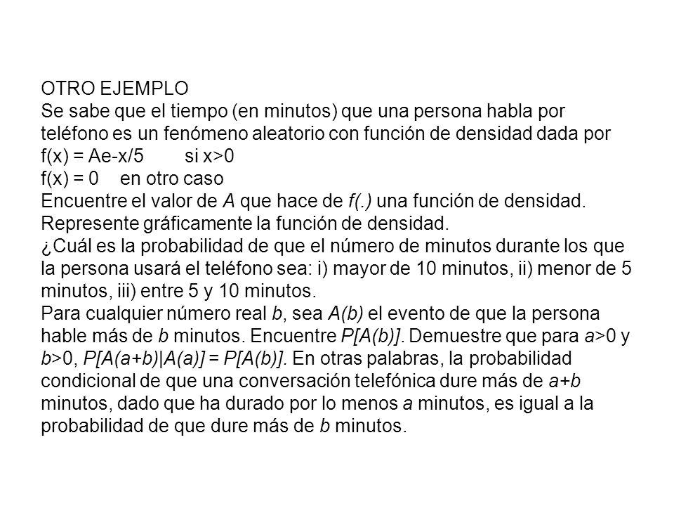 OTRO EJEMPLO Se sabe que el tiempo (en minutos) que una persona habla por teléfono es un fenómeno aleatorio con función de densidad dada por f(x) = Ae