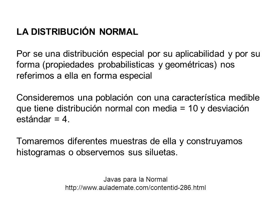 LA DISTRIBUCIÓN NORMAL Por se una distribución especial por su aplicabilidad y por su forma (propiedades probabilisticas y geométricas) nos referimos