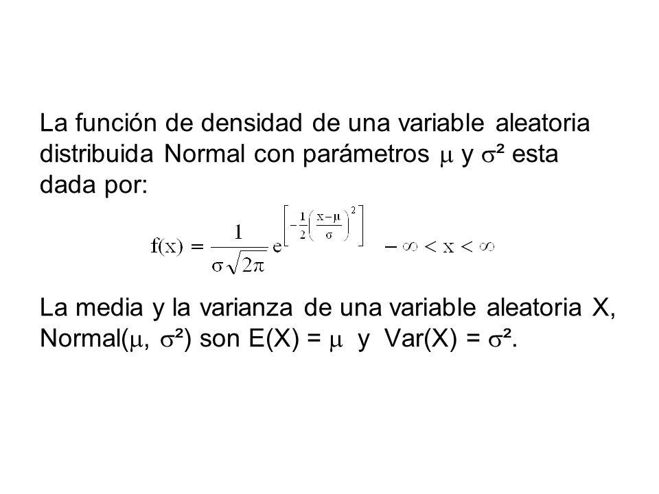 La función de densidad de una variable aleatoria distribuida Normal con parámetros y ² esta dada por: La media y la varianza de una variable aleatoria