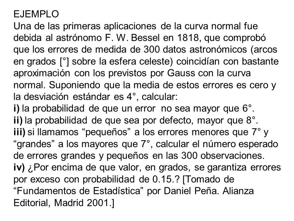 EJEMPLO Una de las primeras aplicaciones de la curva normal fue debida al astrónomo F. W. Bessel en 1818, que comprobó que los errores de medida de 30