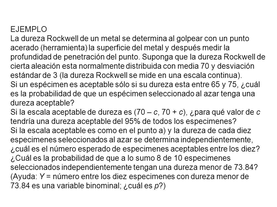 EJEMPLO La dureza Rockwell de un metal se determina al golpear con un punto acerado (herramienta) la superficie del metal y después medir la profundid