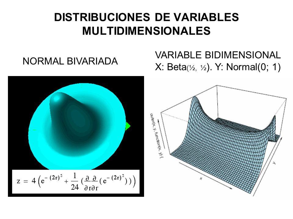 NORMAL BIVARIADA VARIABLE BIDIMENSIONAL X: Beta (½, ½ ). Y: Normal(0; 1) DISTRIBUCIONES DE VARIABLES MULTIDIMENSIONALES