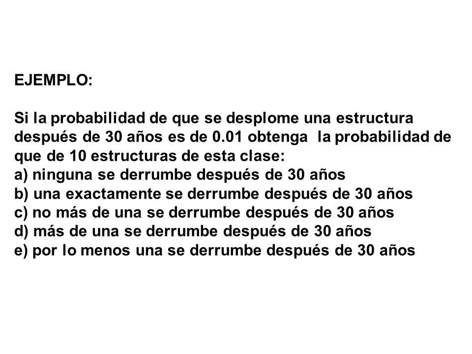 EJEMPLO: Si la probabilidad de que se desplome una estructura después de 30 años es de 0.01 obtenga la probabilidad de que de 10 estructuras de esta c