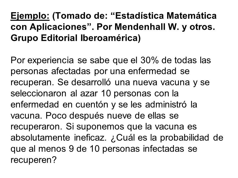 Ejemplo: (Tomado de: Estadística Matemática con Aplicaciones. Por Mendenhall W. y otros. Grupo Editorial Iberoamérica) Por experiencia se sabe que el