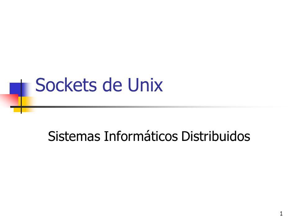 32 Esquema Cliente-Servidor con sockets orientados a conexión socket( ) bind( ) listen( ) accept( ) read( ) write( ) socket( ) connect( ) write( ) read( ) close( ) Proceso ServidorProceso Cliente