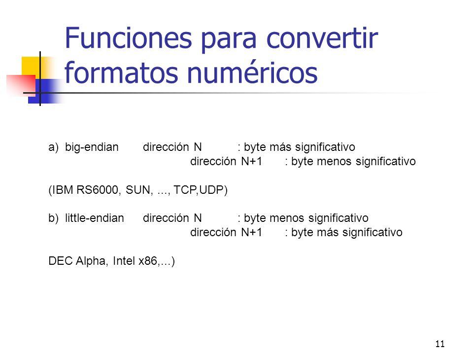 11 Funciones para convertir formatos numéricos a) big-endiandirección N: byte más significativo dirección N+1: byte menos significativo (IBM RS6000, S
