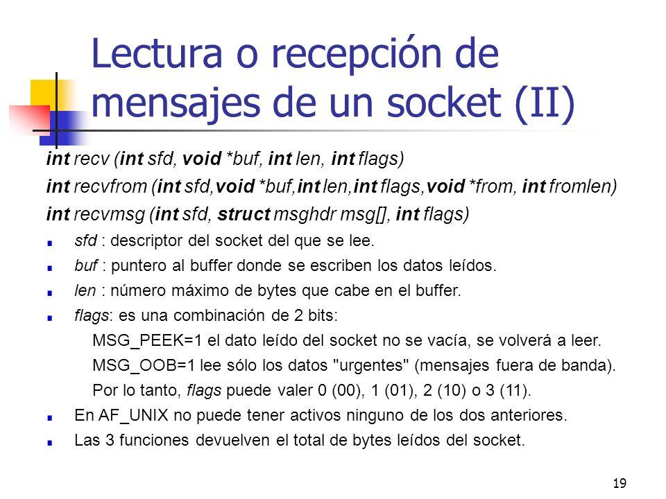 19 Lectura o recepción de mensajes de un socket (II) int recv (int sfd, void *buf, int len, int flags) int recvfrom (int sfd,void *buf,int len,int fla