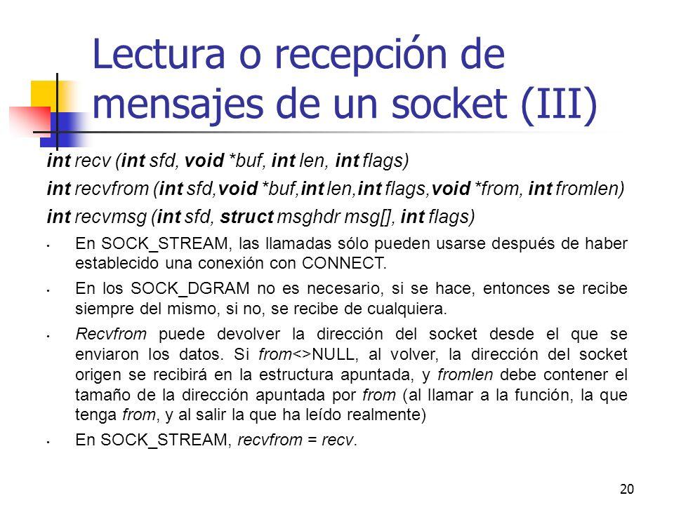20 Lectura o recepción de mensajes de un socket (III) int recv (int sfd, void *buf, int len, int flags) int recvfrom (int sfd,void *buf,int len,int fl