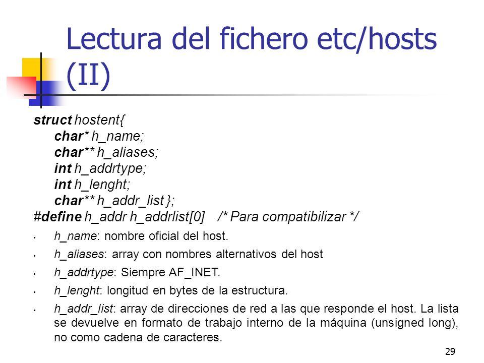 29 Lectura del fichero etc/hosts (II) struct hostent{ char* h_name; char** h_aliases; int h_addrtype; int h_lenght; char** h_addr_list }; #define h_ad