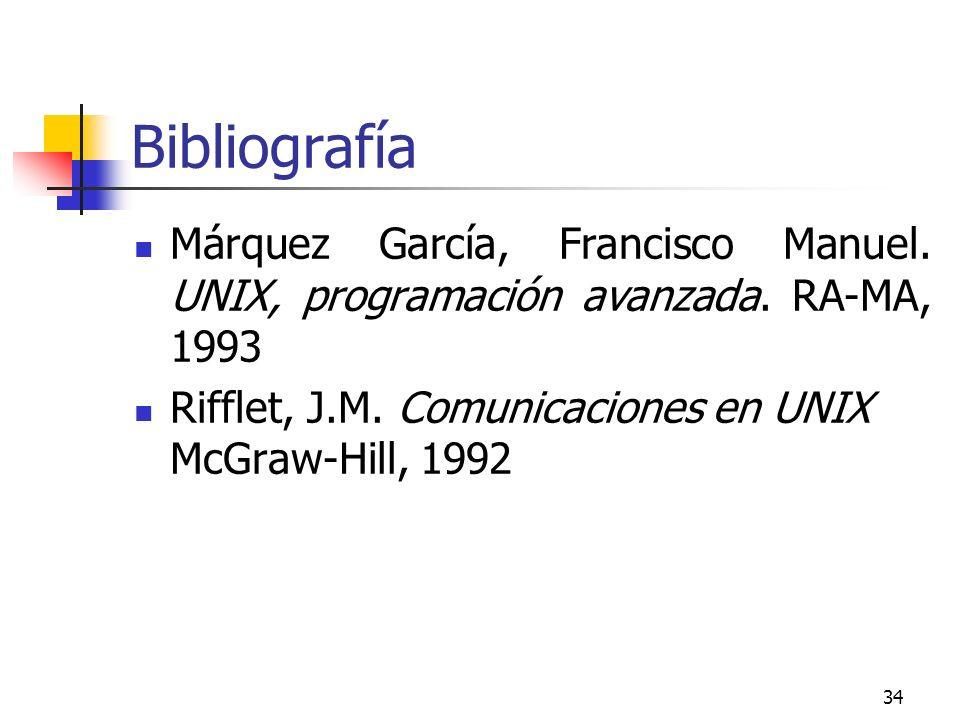 34 Bibliografía Márquez García, Francisco Manuel. UNIX, programación avanzada. RA-MA, 1993 Rifflet, J.M. Comunicaciones en UNIX McGraw-Hill, 1992