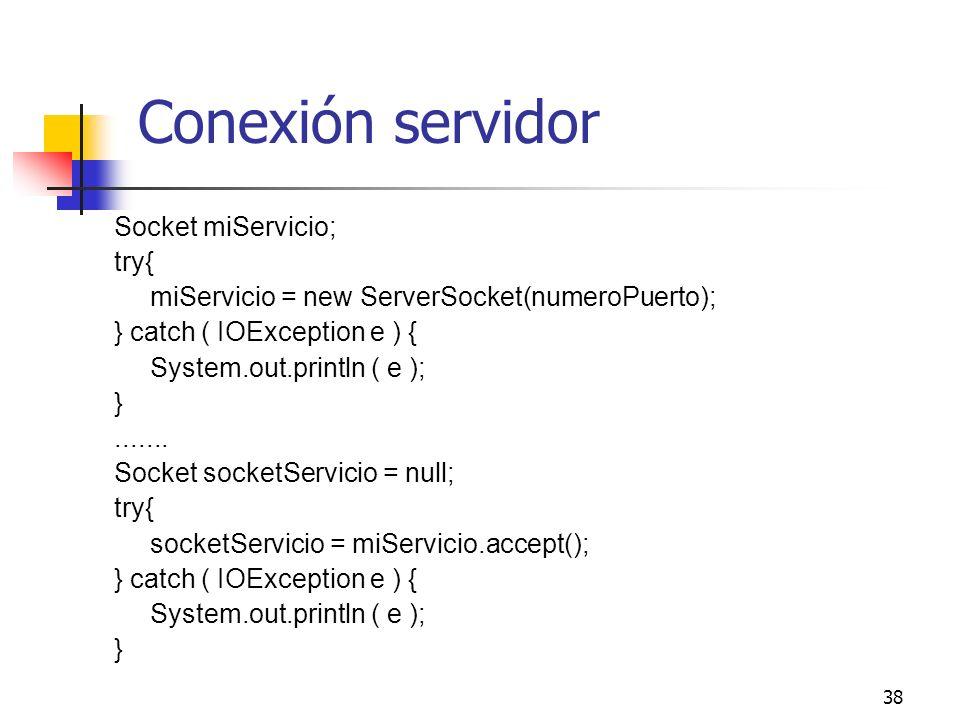38 Conexión servidor Socket miServicio; try{ miServicio = new ServerSocket(numeroPuerto); } catch ( IOException e ) { System.out.println ( e ); }.....