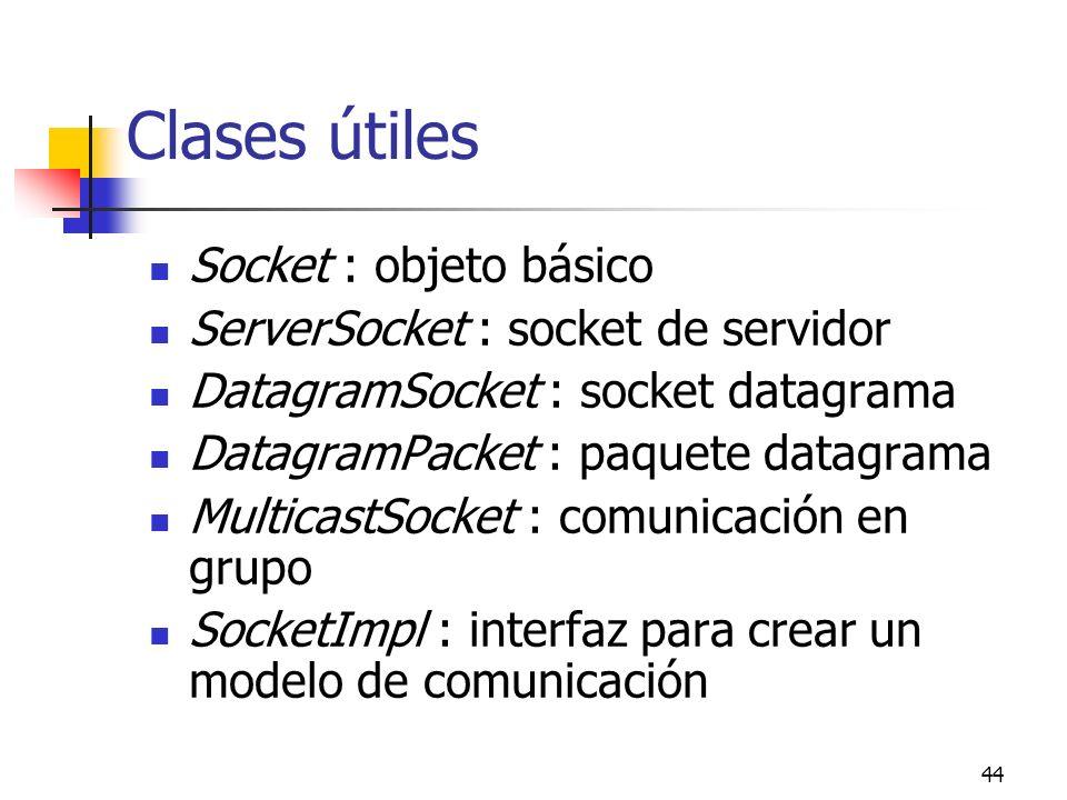 44 Clases útiles Socket : objeto básico ServerSocket : socket de servidor DatagramSocket : socket datagrama DatagramPacket : paquete datagrama Multica