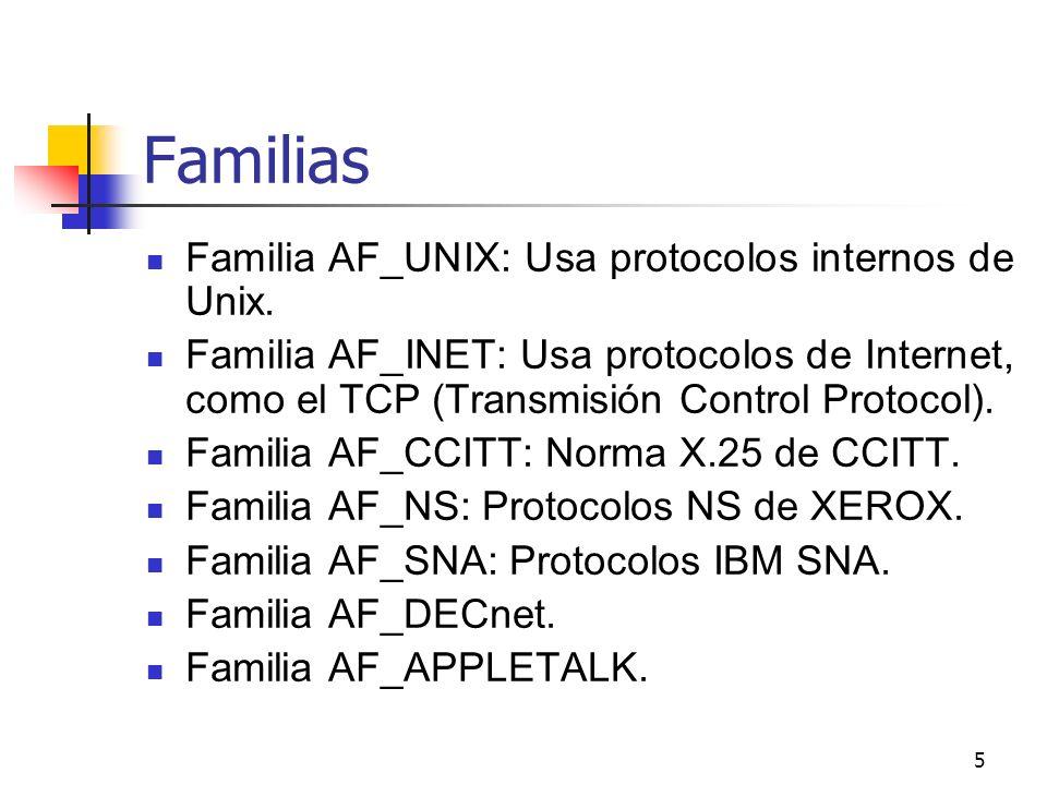 5 Familias Familia AF_UNIX: Usa protocolos internos de Unix. Familia AF_INET: Usa protocolos de Internet, como el TCP (Transmisión Control Protocol).