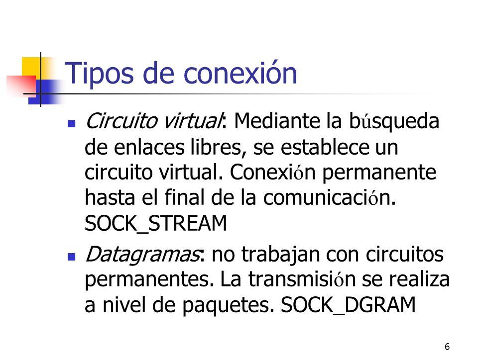 6 Tipos de conexión Circuito virtual: Mediante la b ú squeda de enlaces libres, se establece un circuito virtual. Conexi ó n permanente hasta el final