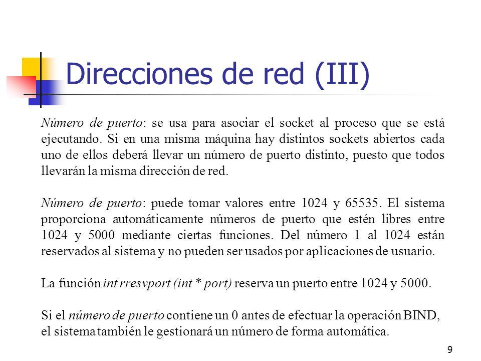20 Lectura o recepción de mensajes de un socket (III) int recv (int sfd, void *buf, int len, int flags) int recvfrom (int sfd,void *buf,int len,int flags,void *from, int fromlen) int recvmsg (int sfd, struct msghdr msg[], int flags) En SOCK_STREAM, las llamadas sólo pueden usarse después de haber establecido una conexión con CONNECT.