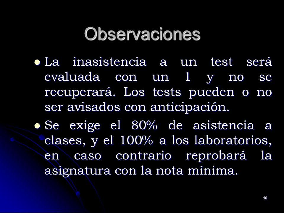 10 Observaciones La inasistencia a un test será evaluada con un 1 y no se recuperará. Los tests pueden o no ser avisados con anticipación. La inasiste