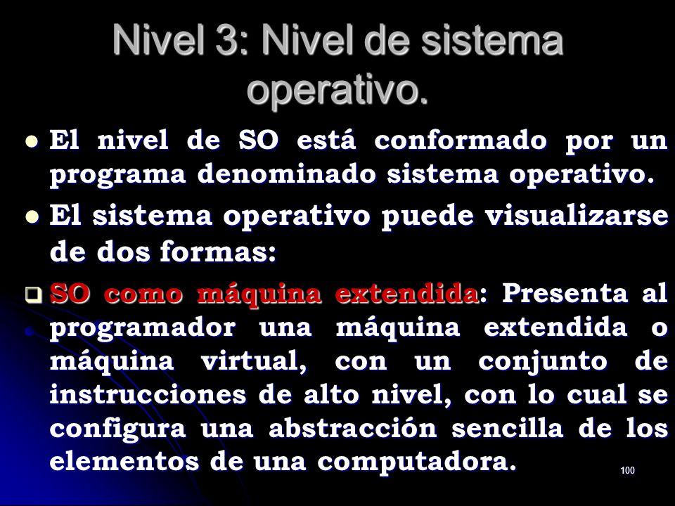 100 Nivel 3: Nivel de sistema operativo. El nivel de SO está conformado por un programa denominado sistema operativo. El nivel de SO está conformado p