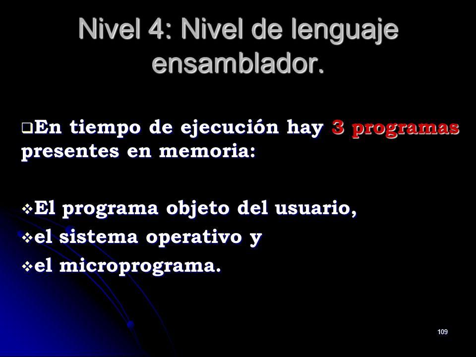 109 Nivel 4: Nivel de lenguaje ensamblador. En tiempo de ejecución hay 3 programas presentes en memoria: En tiempo de ejecución hay 3 programas presen
