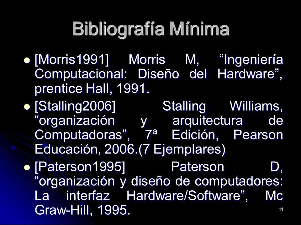 11 Bibliografía Mínima [Morris1991] Morris M, Ingeniería Computacional: Diseño del Hardware, prentice Hall, 1991. [Morris1991] Morris M, Ingeniería Co