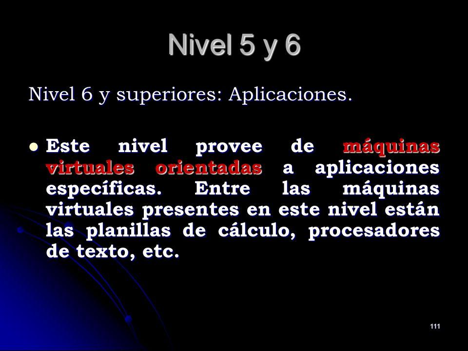 111 Nivel 5 y 6 Nivel 6 y superiores: Aplicaciones. Este nivel provee de máquinas virtuales orientadas a aplicaciones específicas. Entre las máquinas
