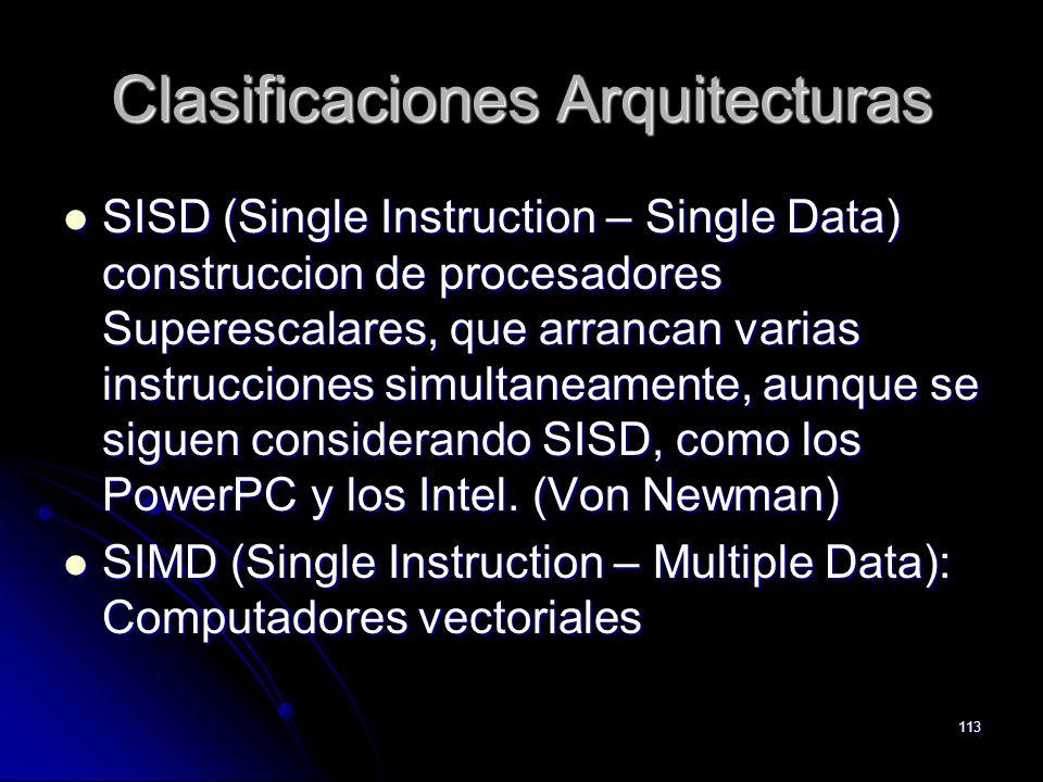 113 Clasificaciones Arquitecturas SISD (Single Instruction – Single Data) construccion de procesadores Superescalares, que arrancan varias instruccion
