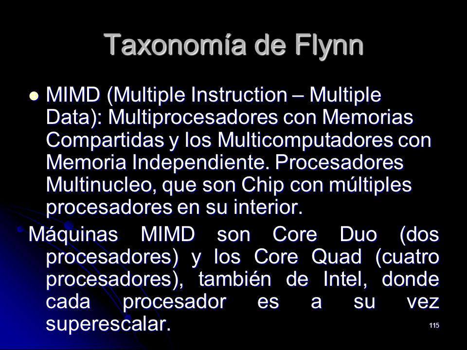 115 Taxonomía de Flynn MIMD (Multiple Instruction – Multiple Data): Multiprocesadores con Memorias Compartidas y los Multicomputadores con Memoria Ind