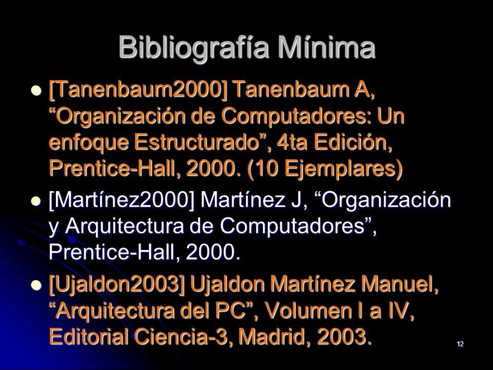 12 Bibliografía Mínima [Tanenbaum2000] Tanenbaum A, Organización de Computadores: Un enfoque Estructurado, 4ta Edición, Prentice-Hall, 2000. (10 Ejemp